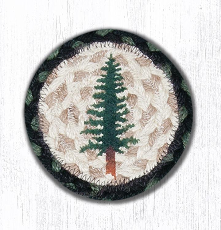 "Tall Timbers Printed Braided Coaster 5""x5"" Set of 4"