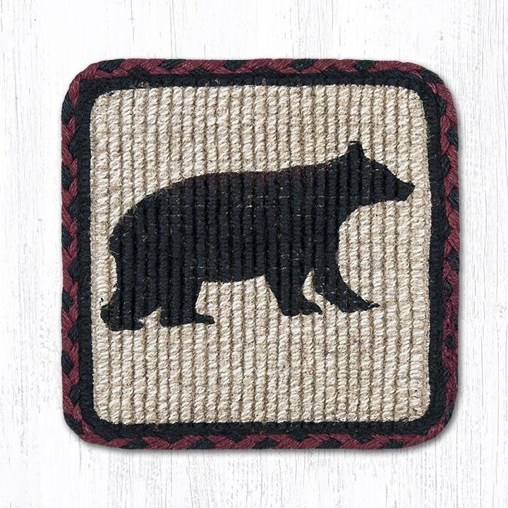 """Cabin Bear Wicker Weave Braided Coaster 5""""x5"""" Set of 4"""
