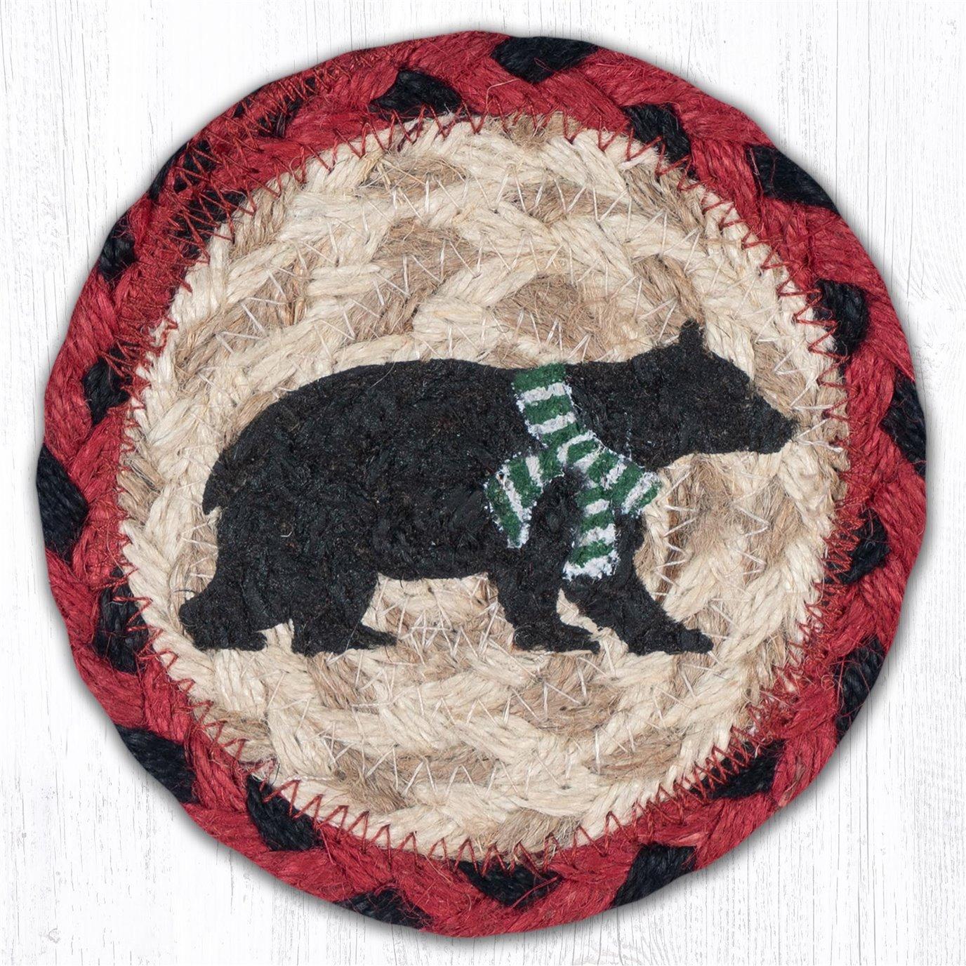 "Bear Green Stripe Scarf Printed Braided Coaster 5""x5"" Set of 4"