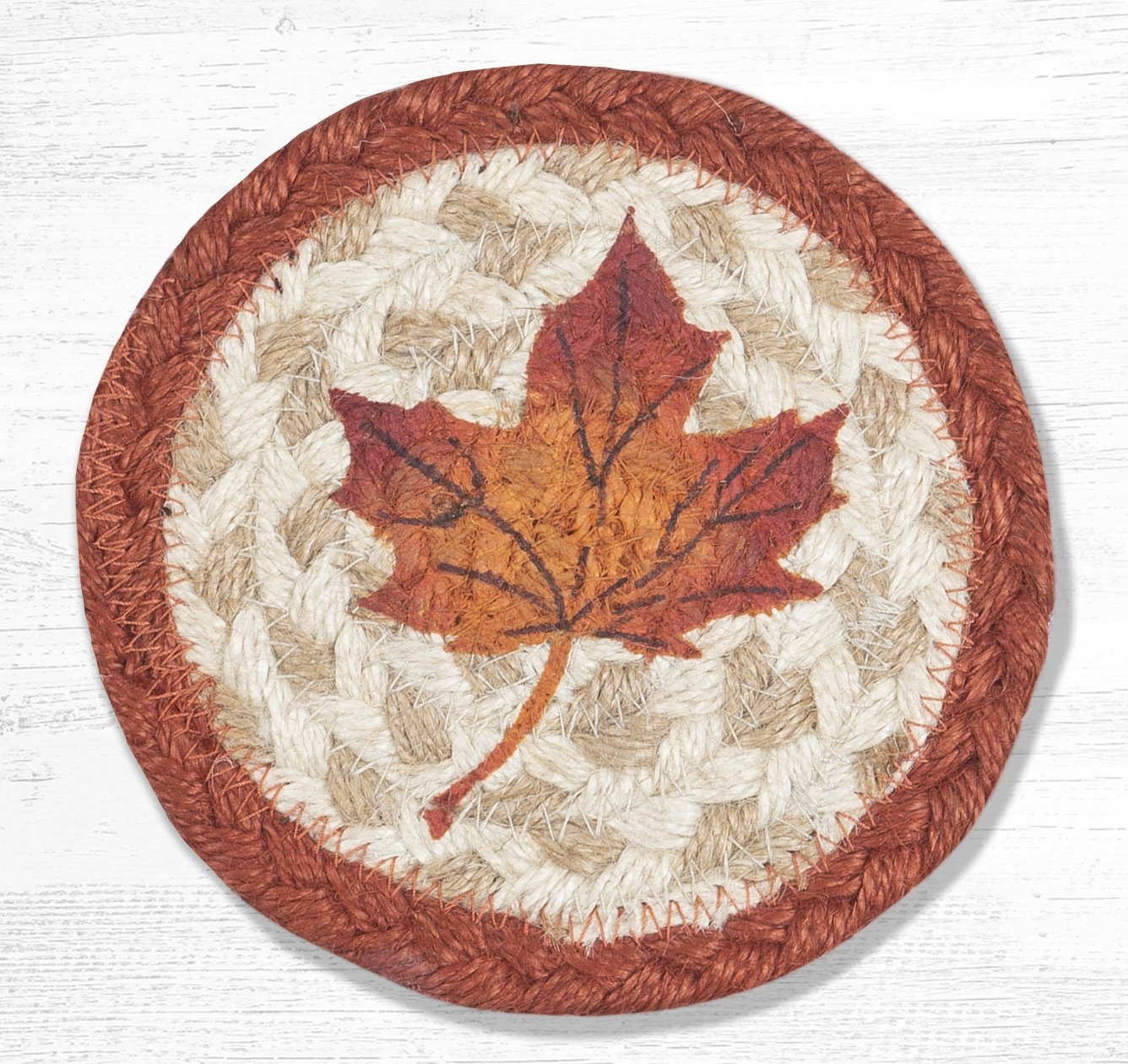 "Maple Leaf Printed Braided Coaster 5""x5"" Set of 4"
