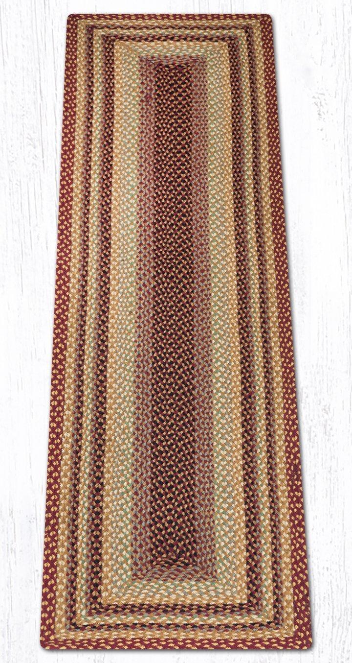 Burgundy/Gray/Cream/Mustard Rectangular Braided Rug 2'x8'