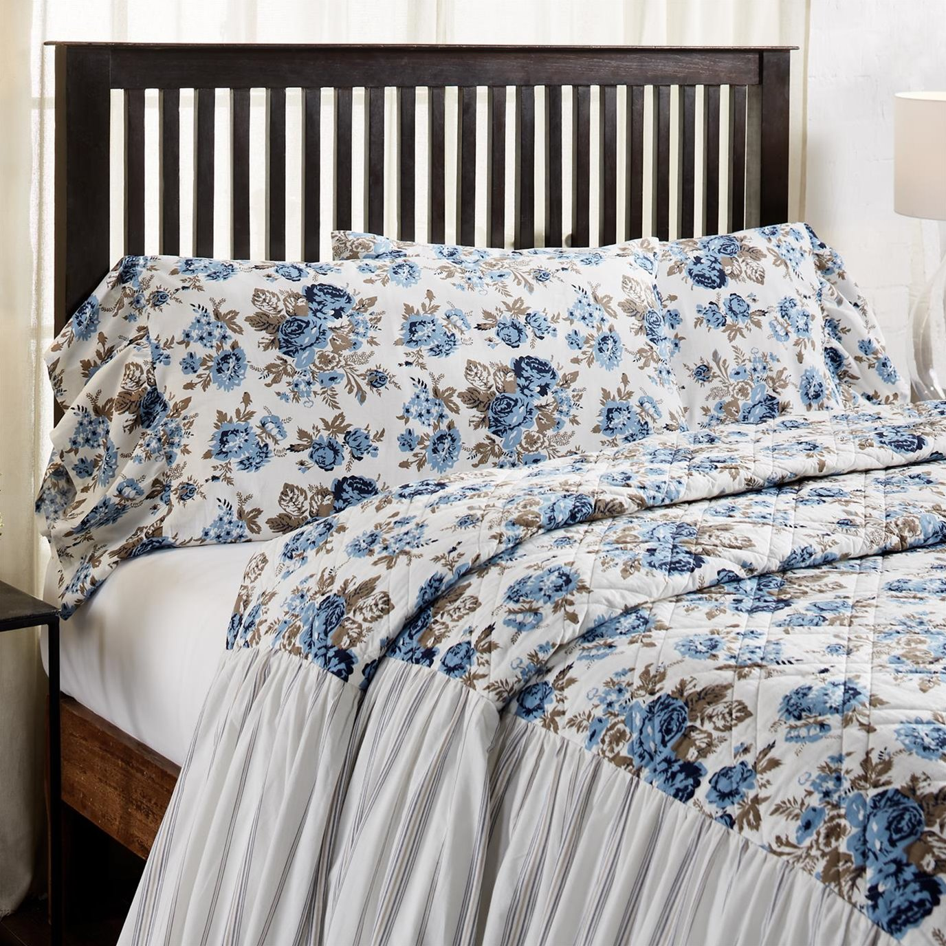 Annie Blue Floral Ruffled King Pillow Case Set of 2 21x36+8