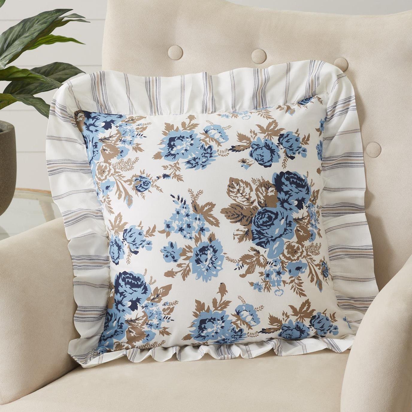 Annie Blue Floral Ruffled Pillow 18x18