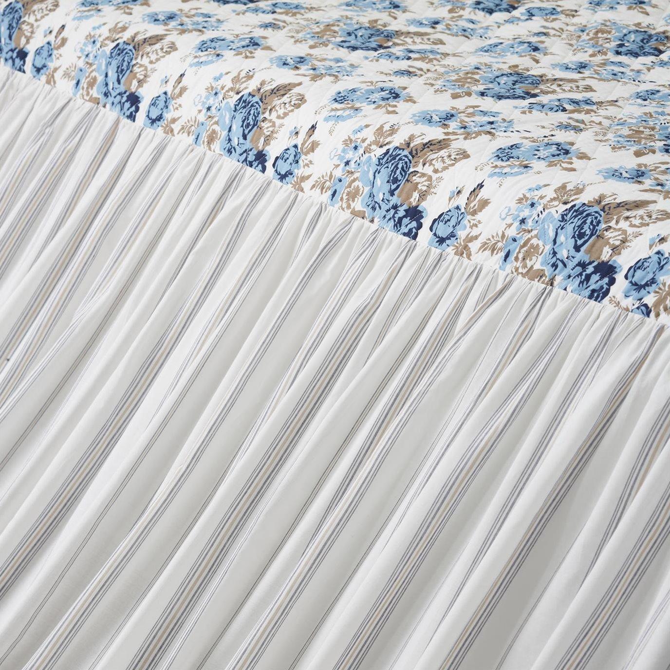 Annie Blue Floral Ruffled Queen Coverlet 80x60+27
