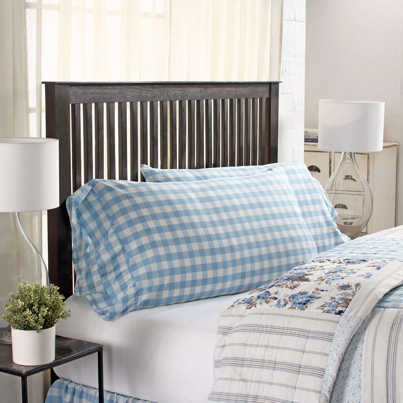 Annie Buffalo Blue Check King Pillow Case Set of 2 21x36+4