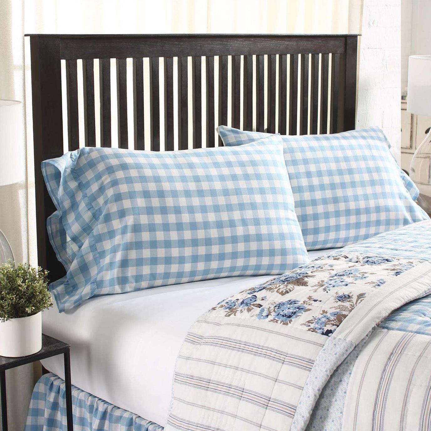 Annie Buffalo Blue Check Standard Pillow Case Set of 2 21x30+4