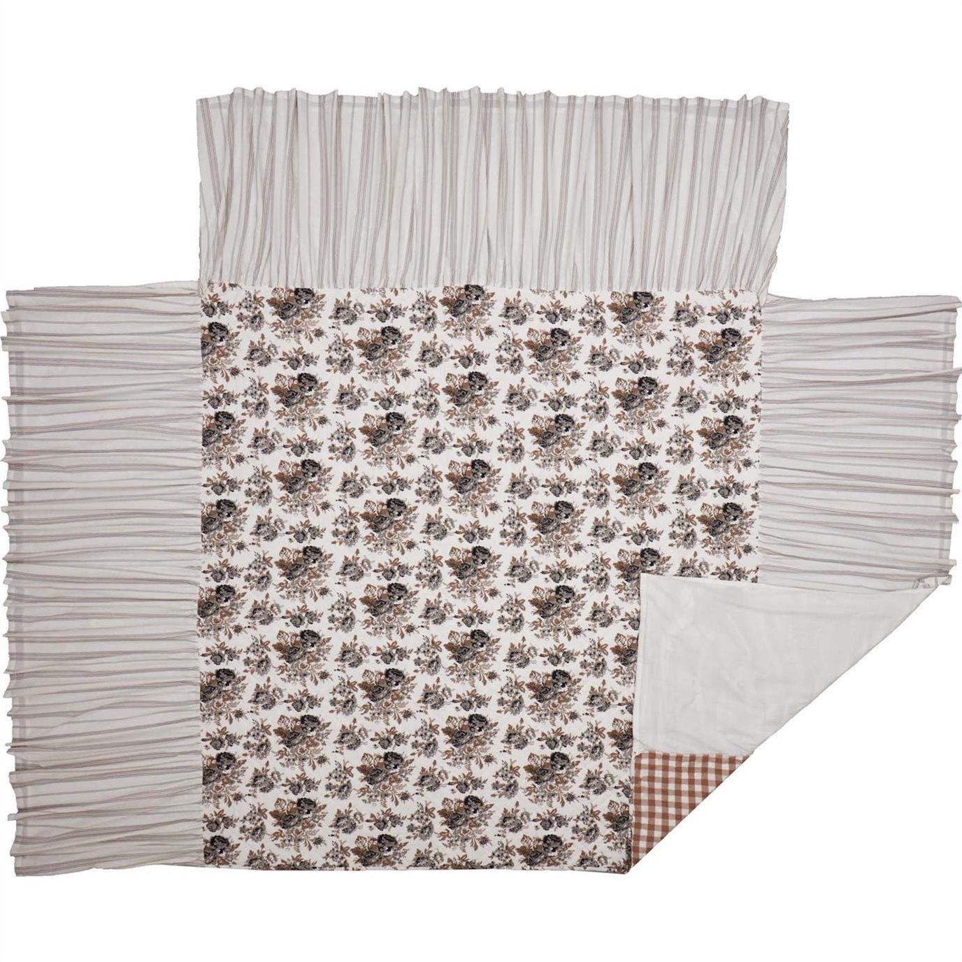 Annie Portabella Floral Ruffled King Coverlet 80x76+27