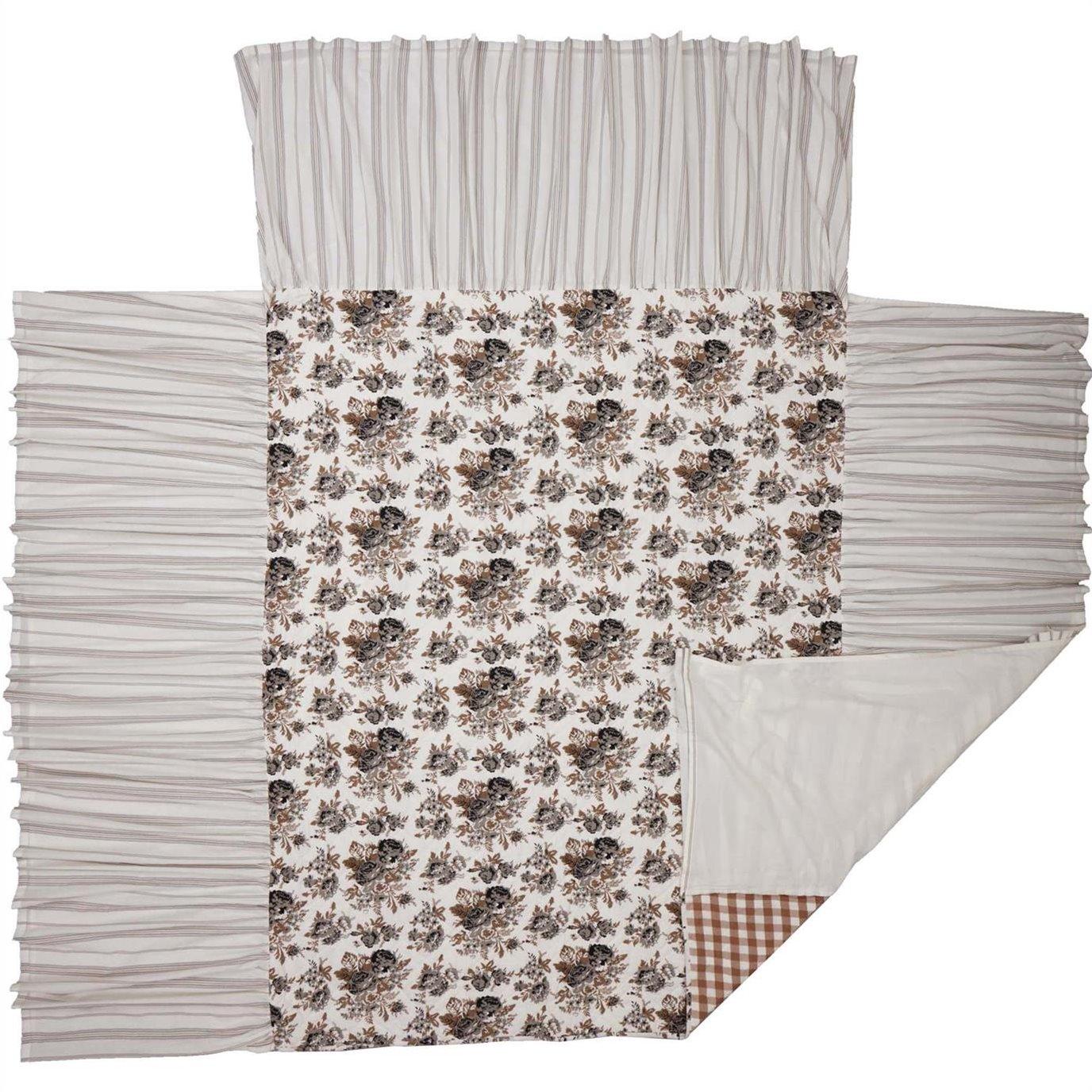 Annie Portabella Floral Ruffled Queen Coverlet 80x60+27