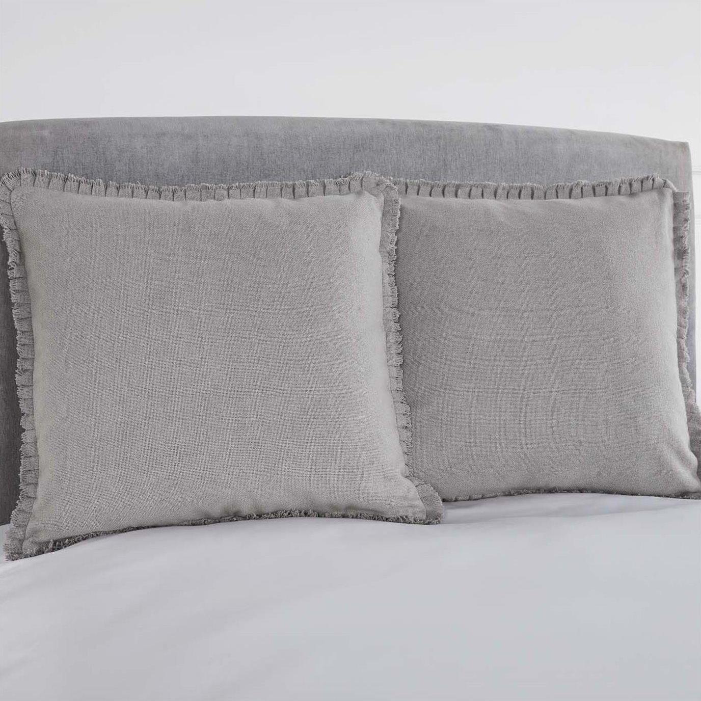 Burlap Dove Grey Fabric Euro Sham w/ Fringed Ruffle 26x26