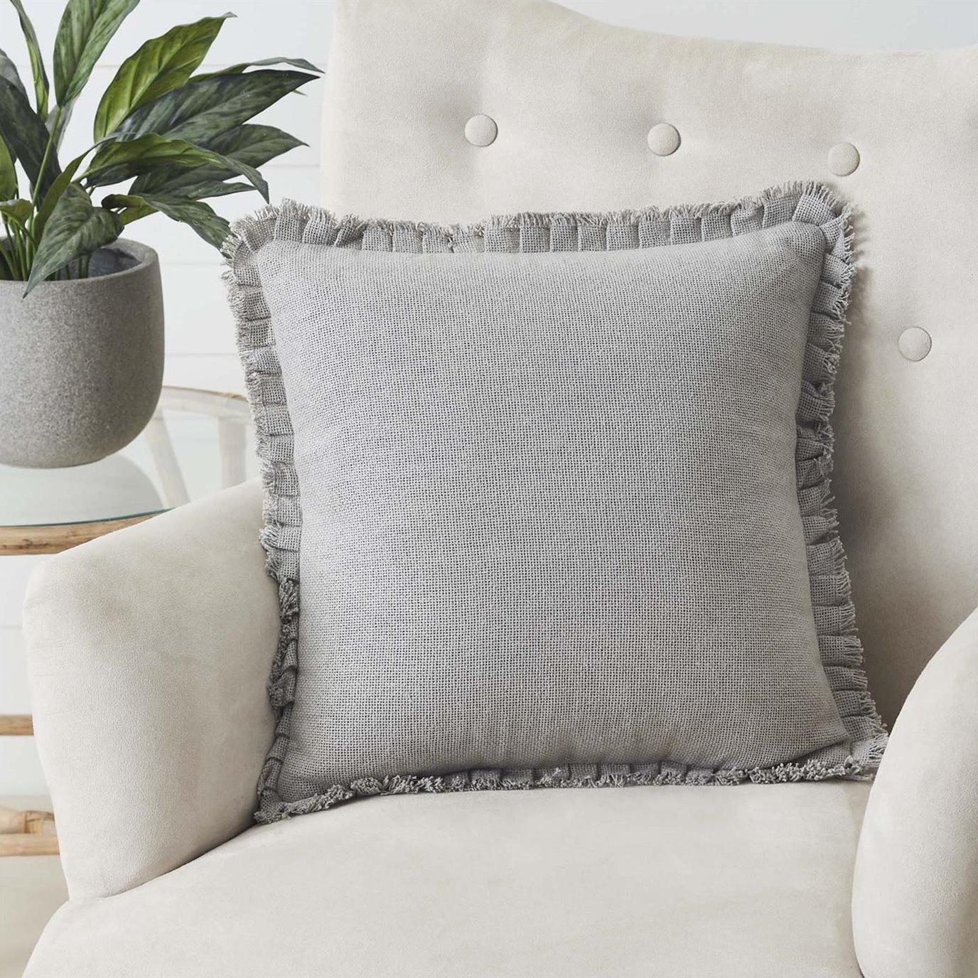 Burlap Dove Grey Pillow w/ Fringed Ruffle 18x18