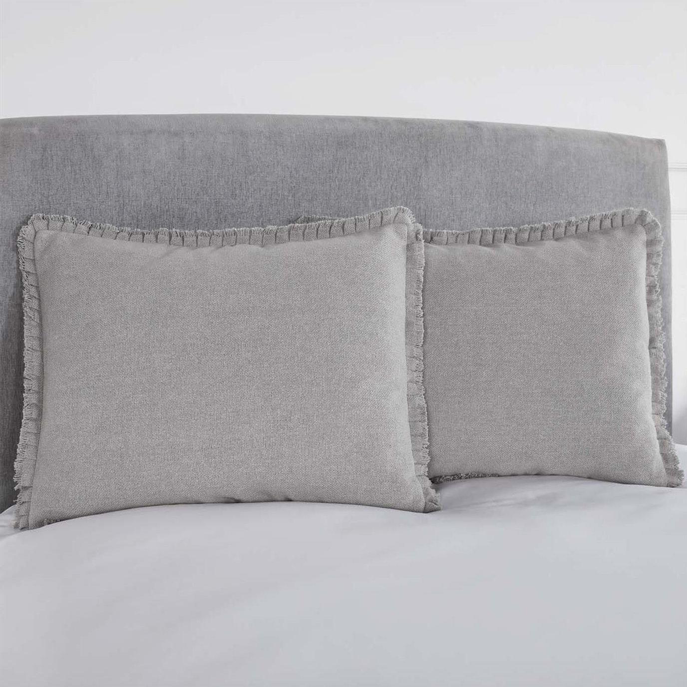 Burlap Dove Grey Standard Sham w/ Fringed Ruffle 21x27