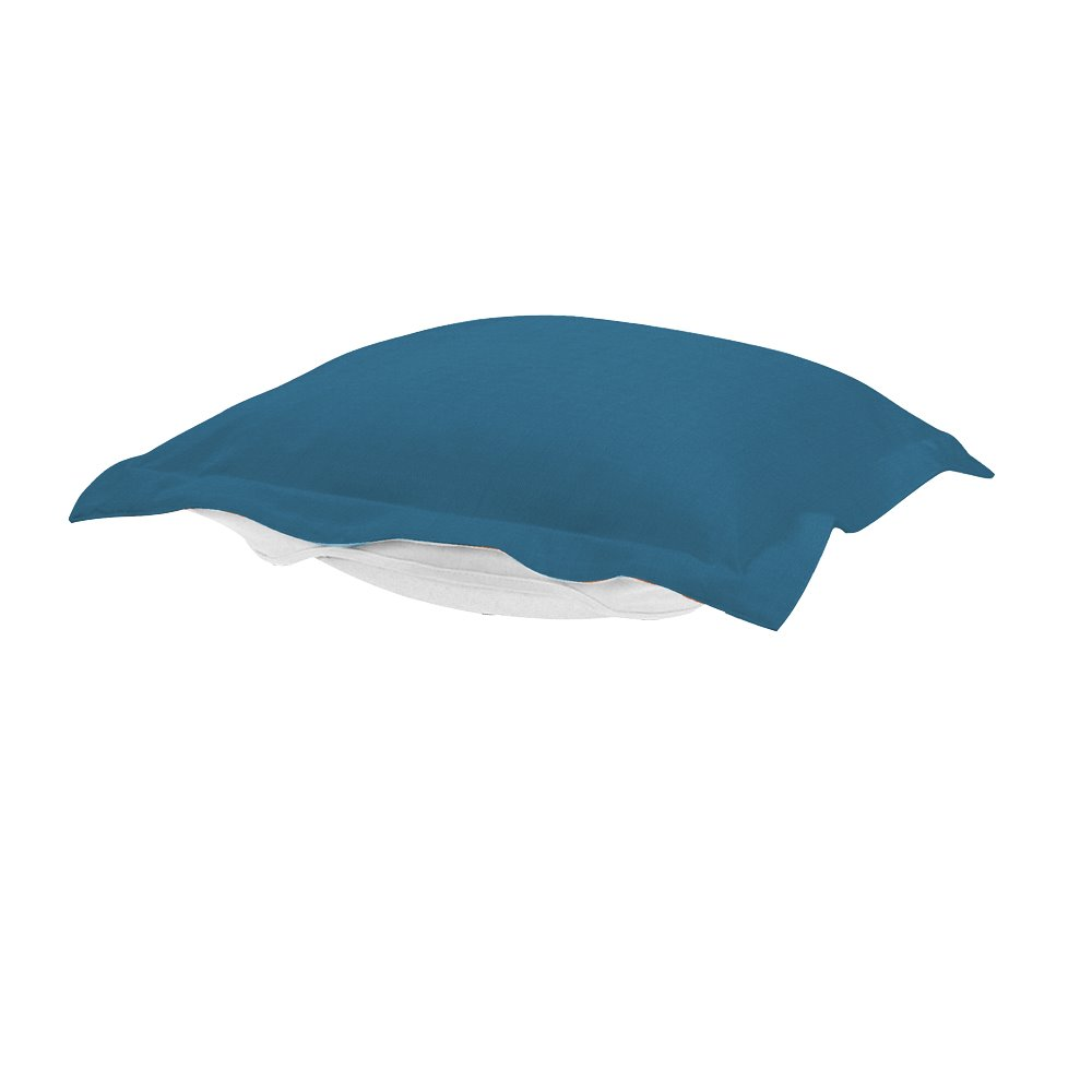 Howard Elliott Puff Ottoman Cover Sunbrella Outdoor Seascape Turquoise - Cover Only, Cushion and Frame Not Included