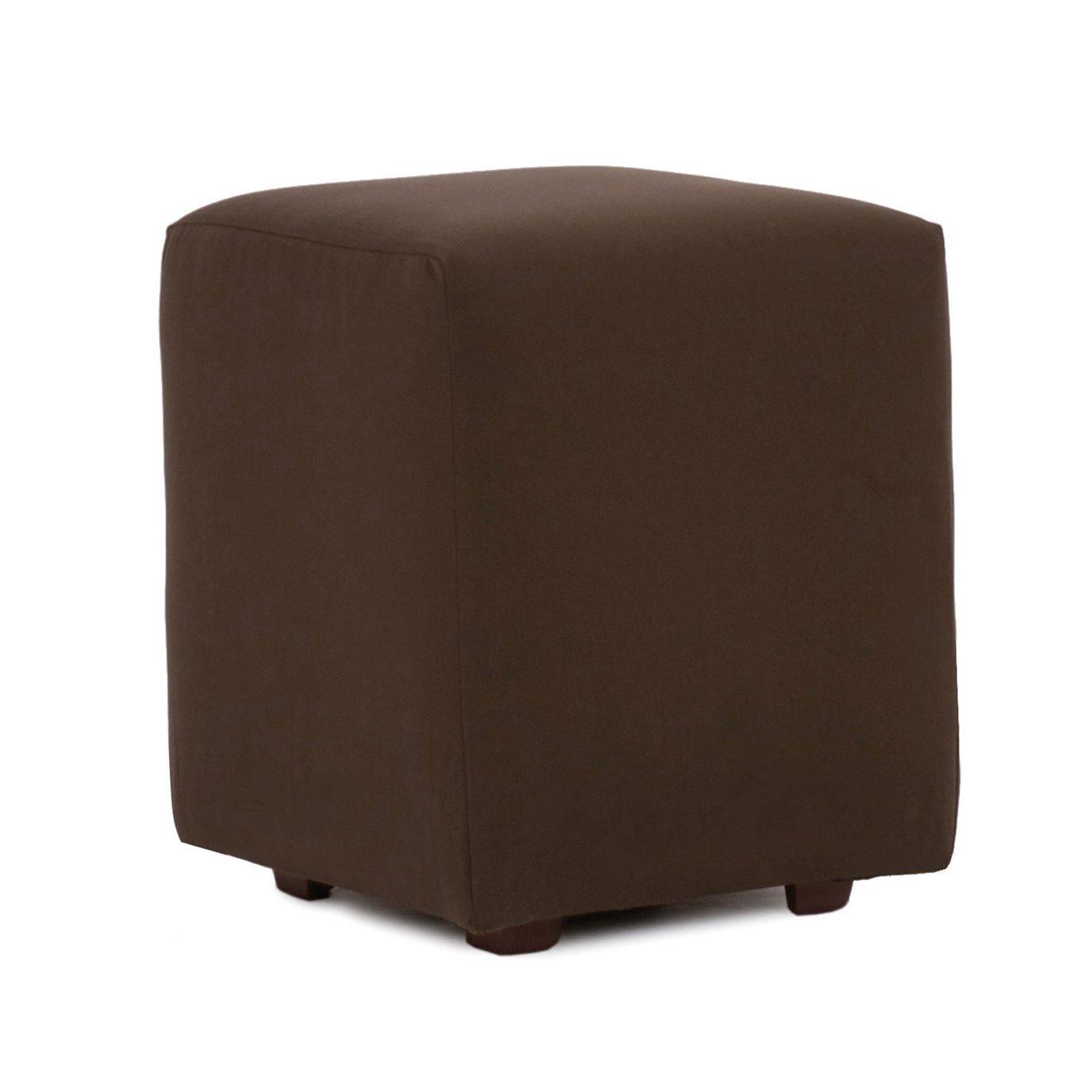 Howard Elliott Universal Cube Outdoor Sunbrella Seascape Chocolate Complete Ottoman