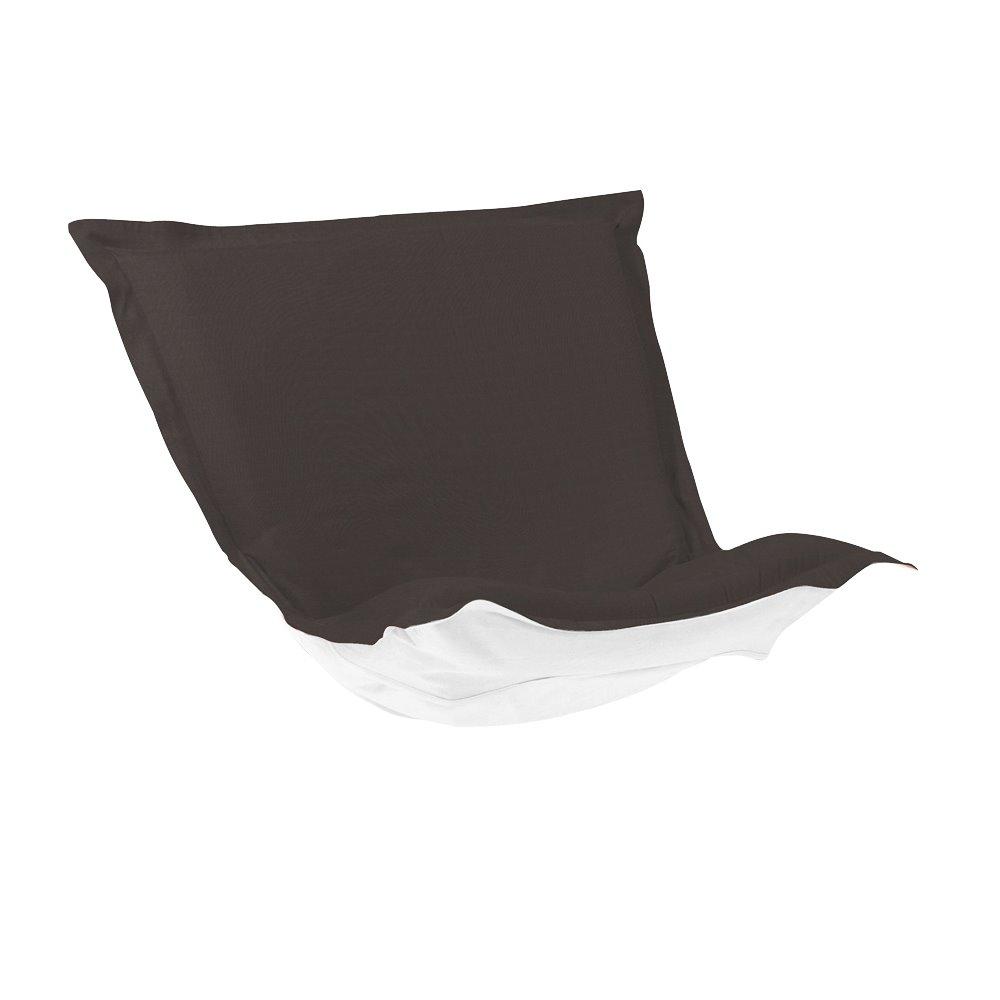 Howard Elliott Puff Chair Cushion Outdoor Sunbrella Seascape Charcoal Cushion and Cover