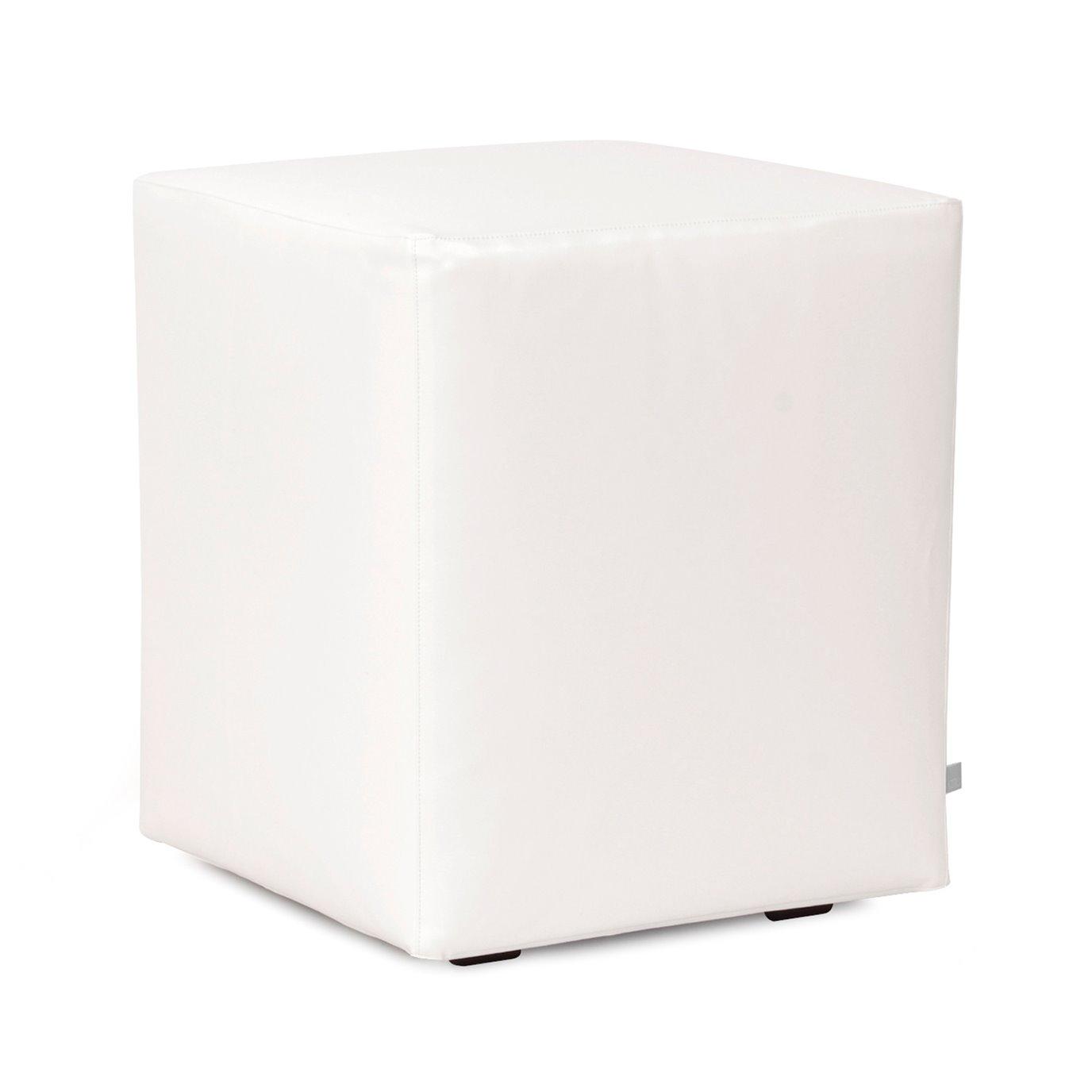 Howard Elliott Universal Cube Outdoor Marine Grade Vinyl Atlantis White Complete Ottoman