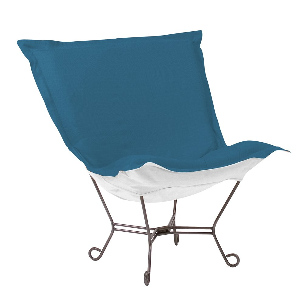 Howard Elliott Scroll Puff Chair Outdoor Sunbrella Seascape Turquoise Titanium Frame Complete Chair