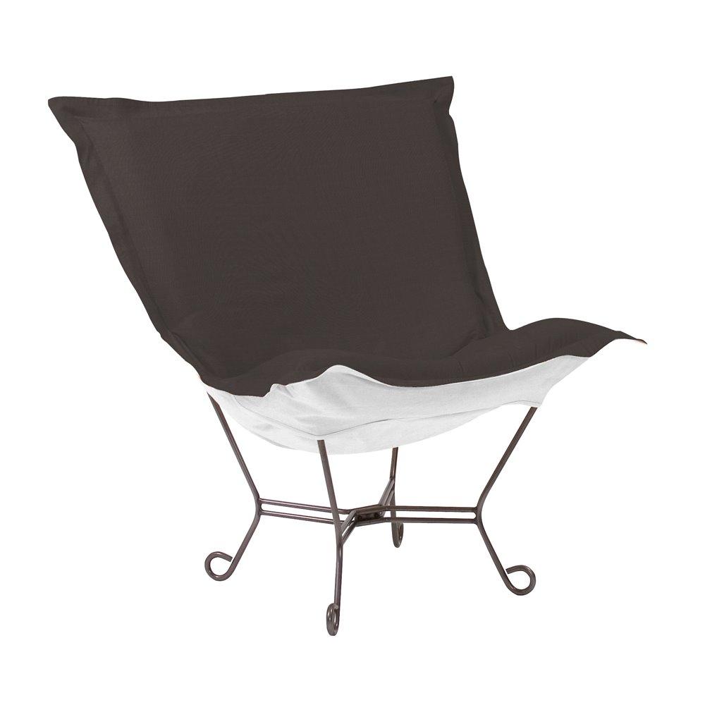 Howard Elliott Scroll Puff Chair Outdoor Sunbrella Seascape Charcoal Titanium Frame Complete Chair
