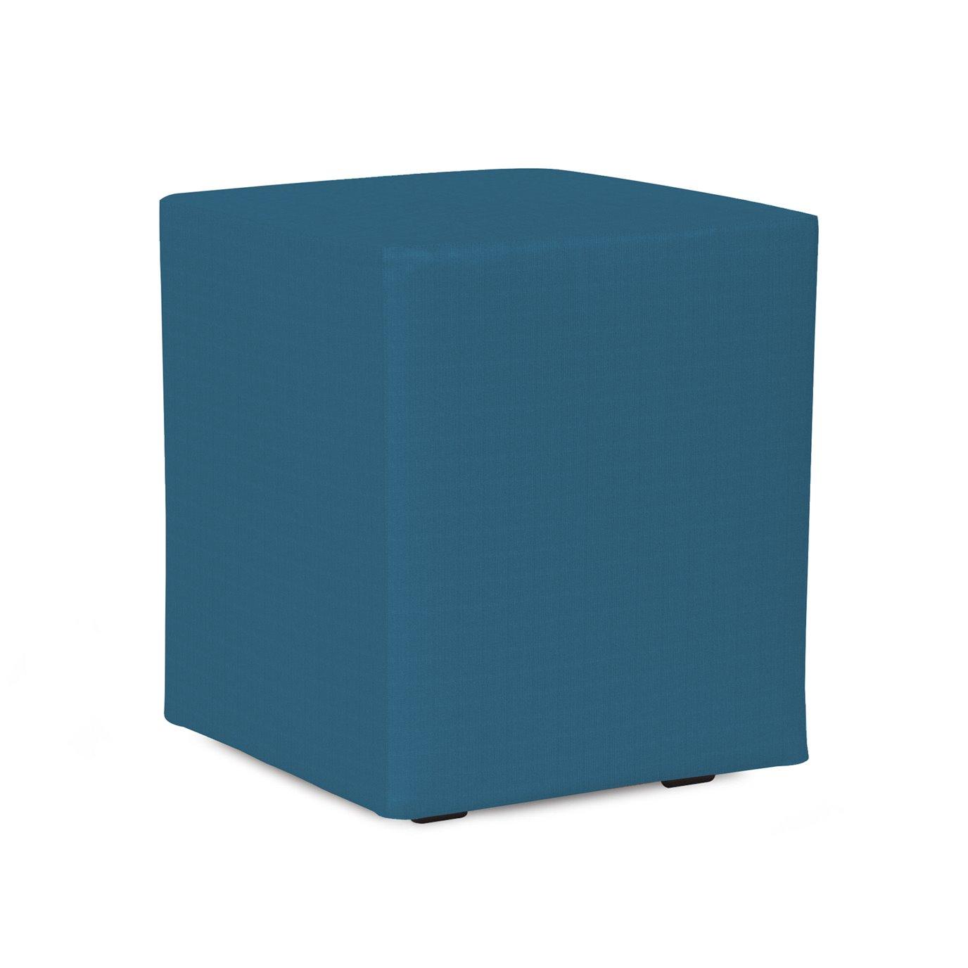 Howard Elliott Universal Cube Outdoor Sunbrella Seascape Turquoise Complete Ottoman