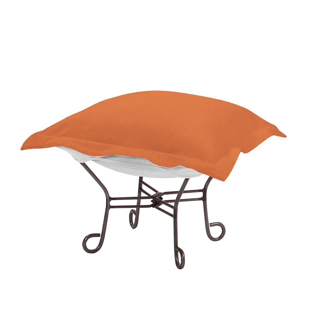 Howard Elliott Scroll Puff Ottoman Outdoor Sunbrella Seascape Canyon Titanium Frame Complete Ottoman
