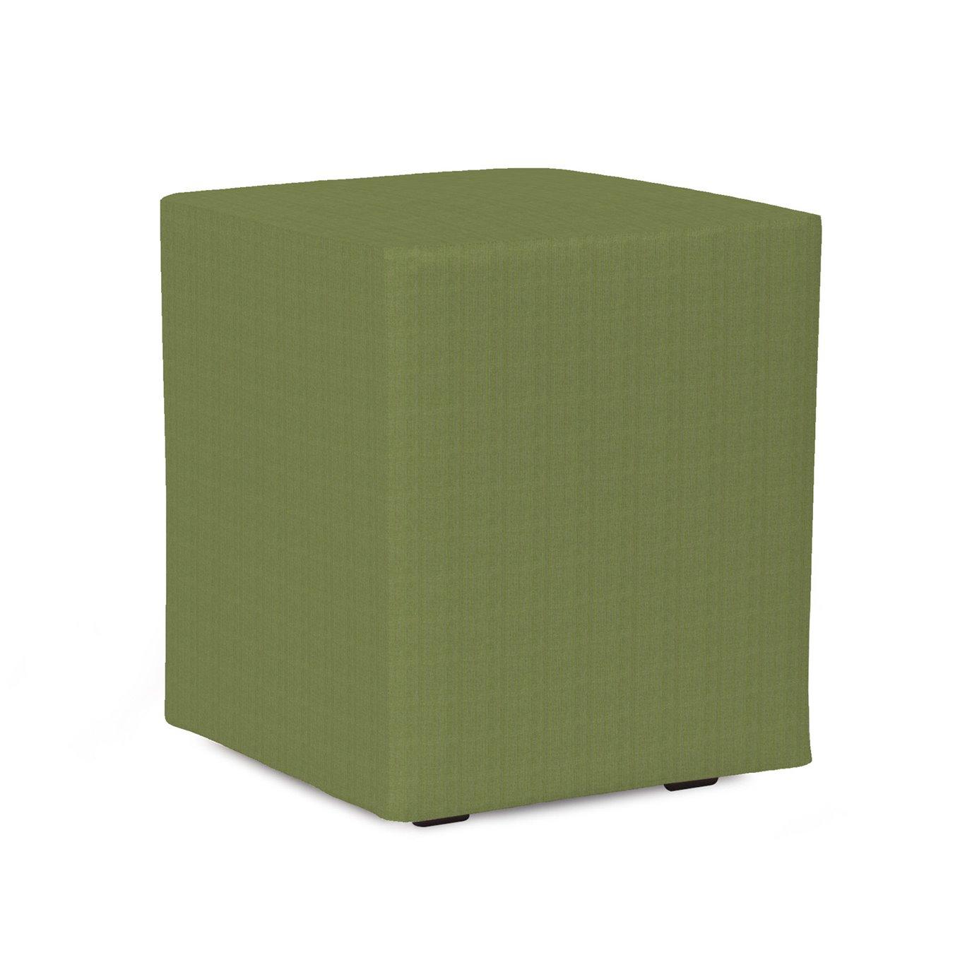 Howard Elliott Universal Cube Outdoor Sunbrella Seascape Moss Complete Ottoman