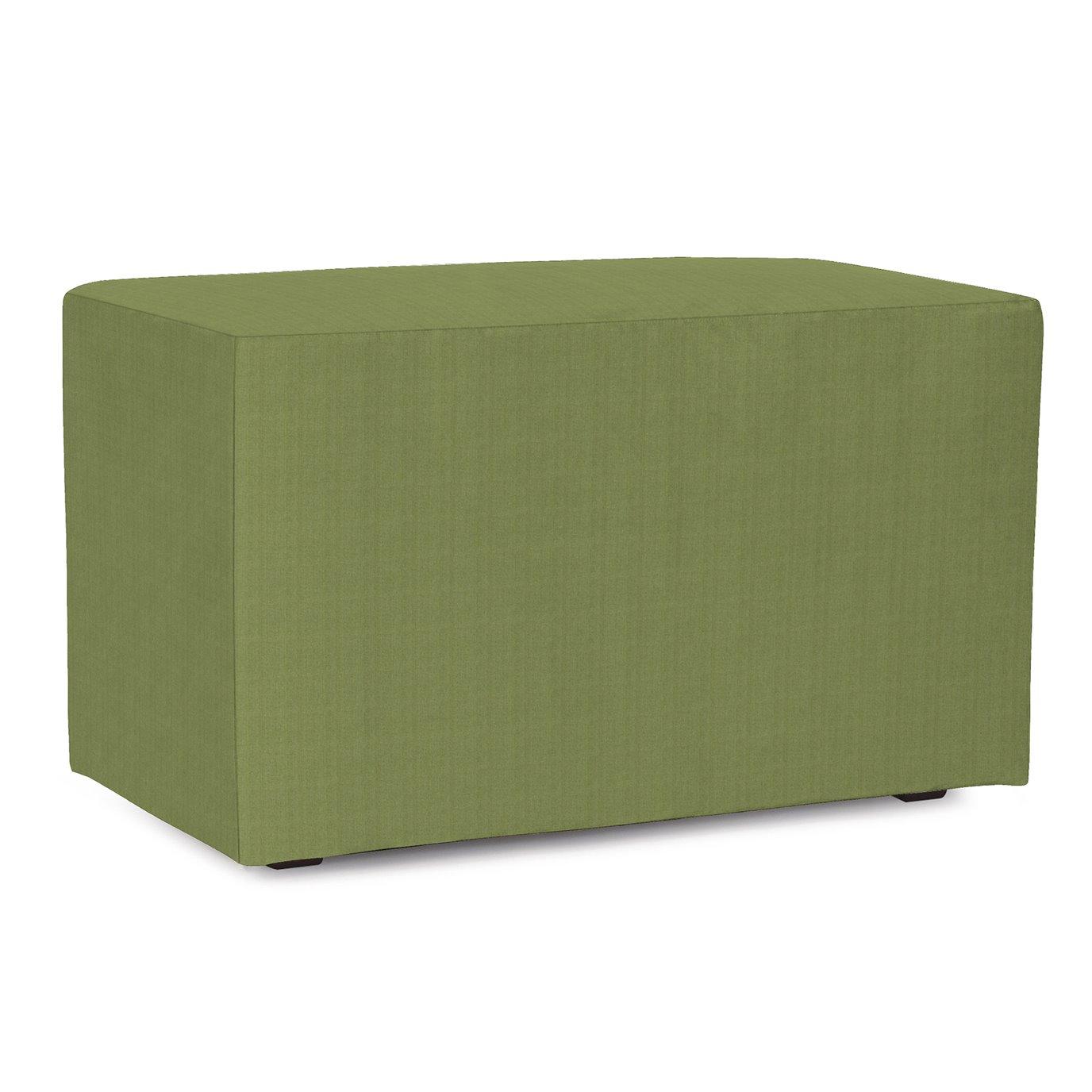 Howard Elliott Universal Bench Outdoor Sunbrella Seascape Moss Complete Ottoman