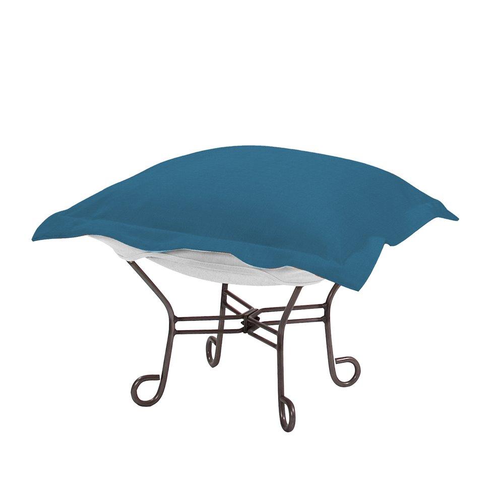 Howard Elliott Scroll Puff Ottoman Outdoor Sunbrella Seascape Turquoise Titanium Frame Complete Ottoman
