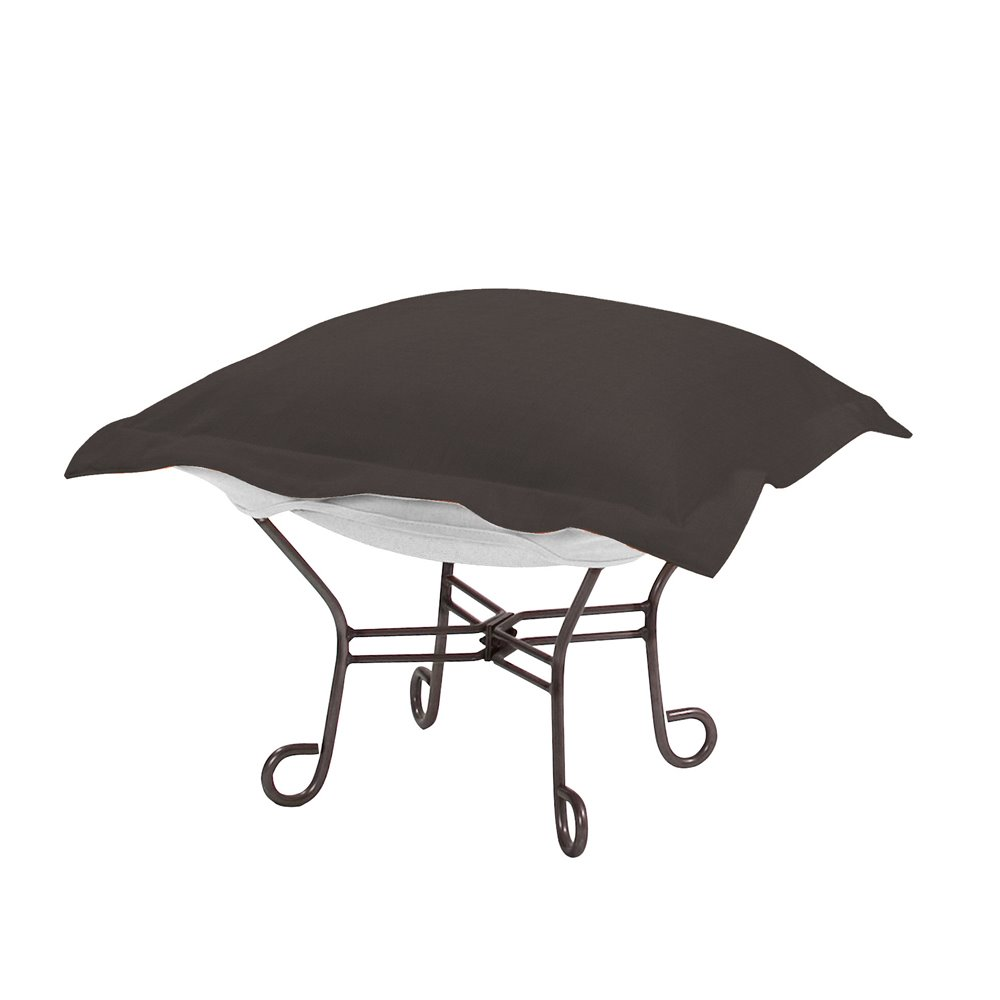 Howard Elliott Scroll Puff Ottoman Outdoor Sunbrella Seascape Charcoal Titanium Frame Complete Ottoman