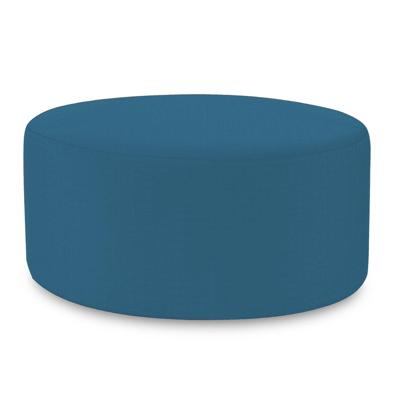 Howard Elliott Universal Round Ottoman Outdoor Sunbrella Seascape Turquoise Complete Ottoman