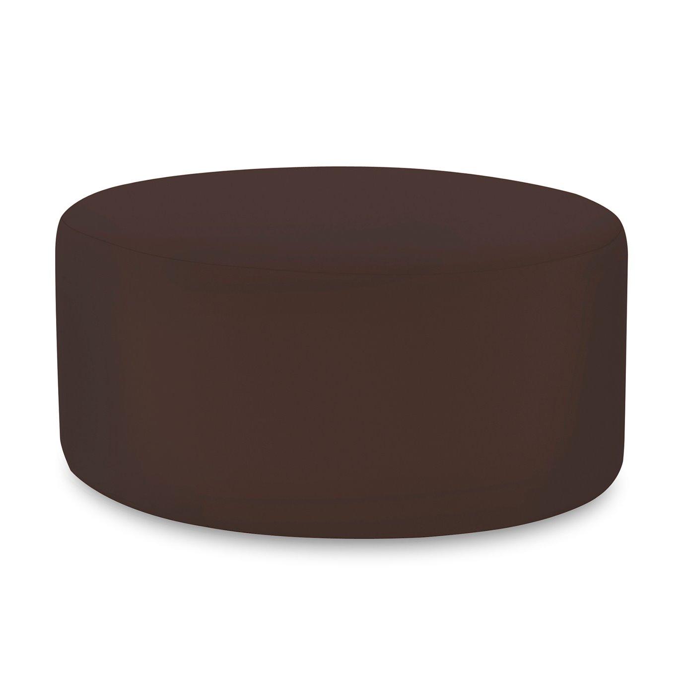 Howard Elliott Universal Round Ottoman Outdoor Sunbrella Seascape Chocolate Complete Ottoman