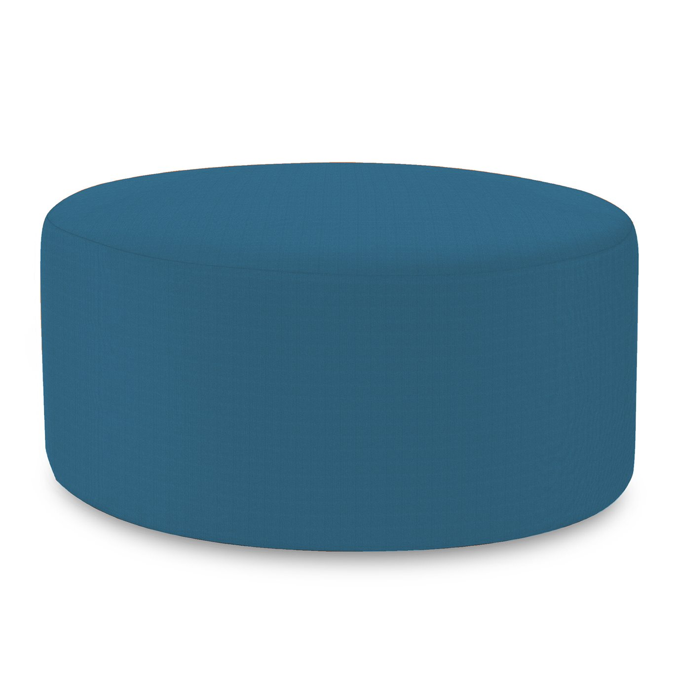 Howard Elliott Universal Round Ottoman Cover Sunbrella Outdoor Seascape Turquoise - Cover Only, Base Not Included
