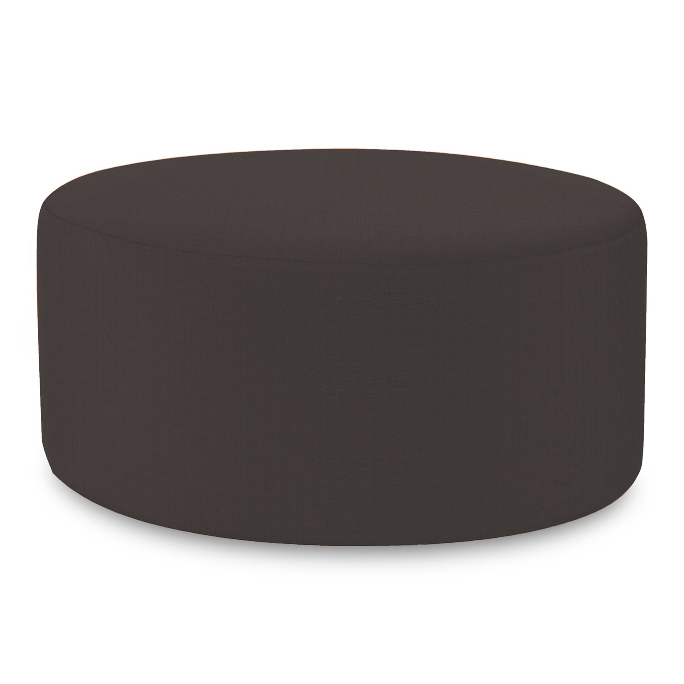 Howard Elliott Universal Round Ottoman Cover Sunbrella Outdoor Seascape Charcoal - Cover Only, Base Not Included