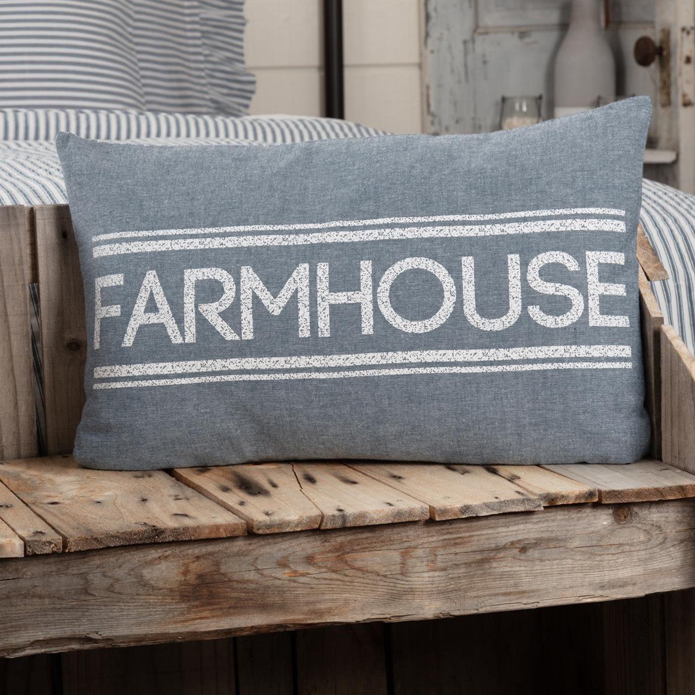Sawyer Mill Blue Farmhouse Pillow 14x22