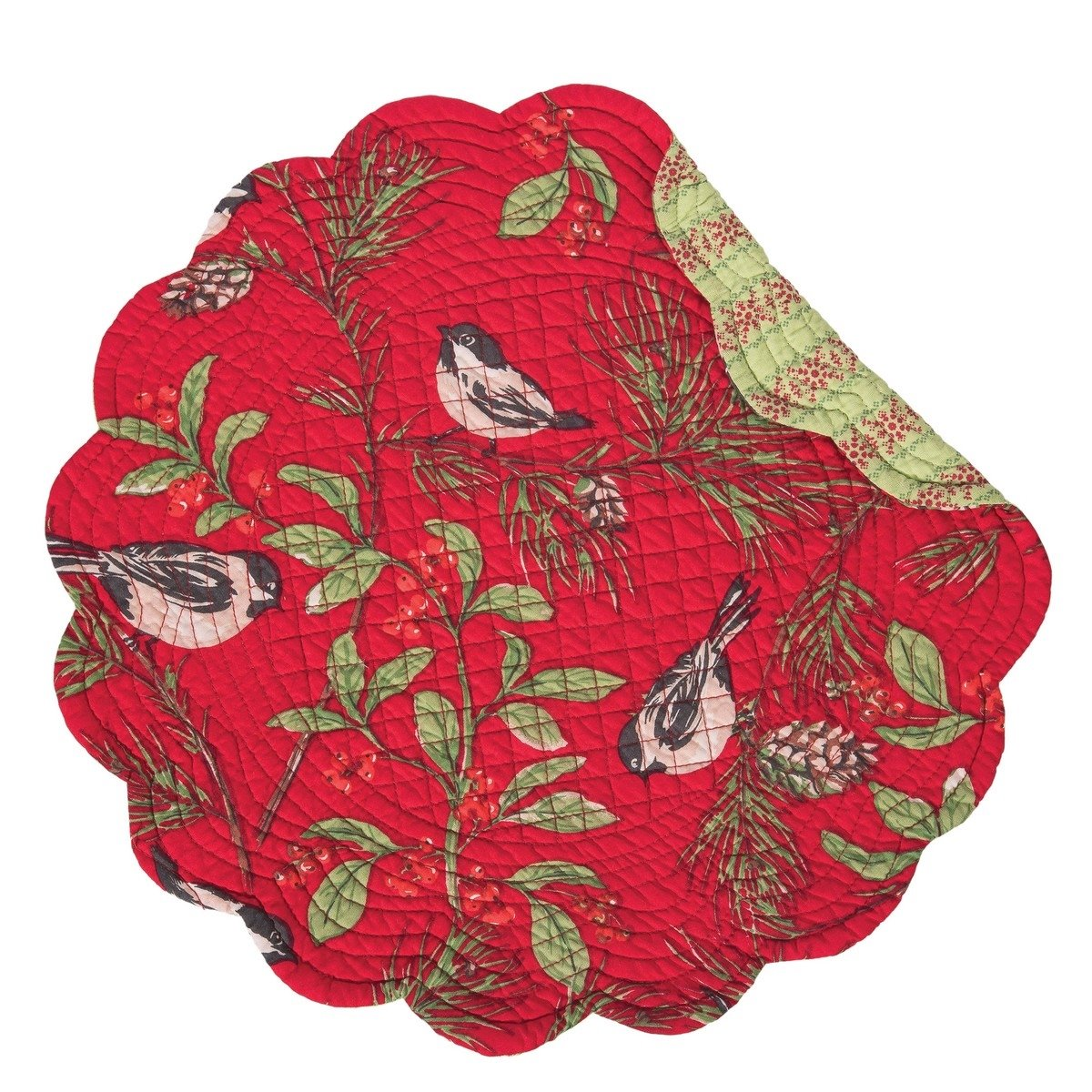 Chickadee Red Round Quilted Placemat