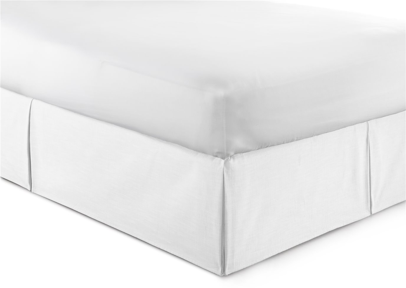 """Cambric White Bedskirt 15"""" Drop California King"""