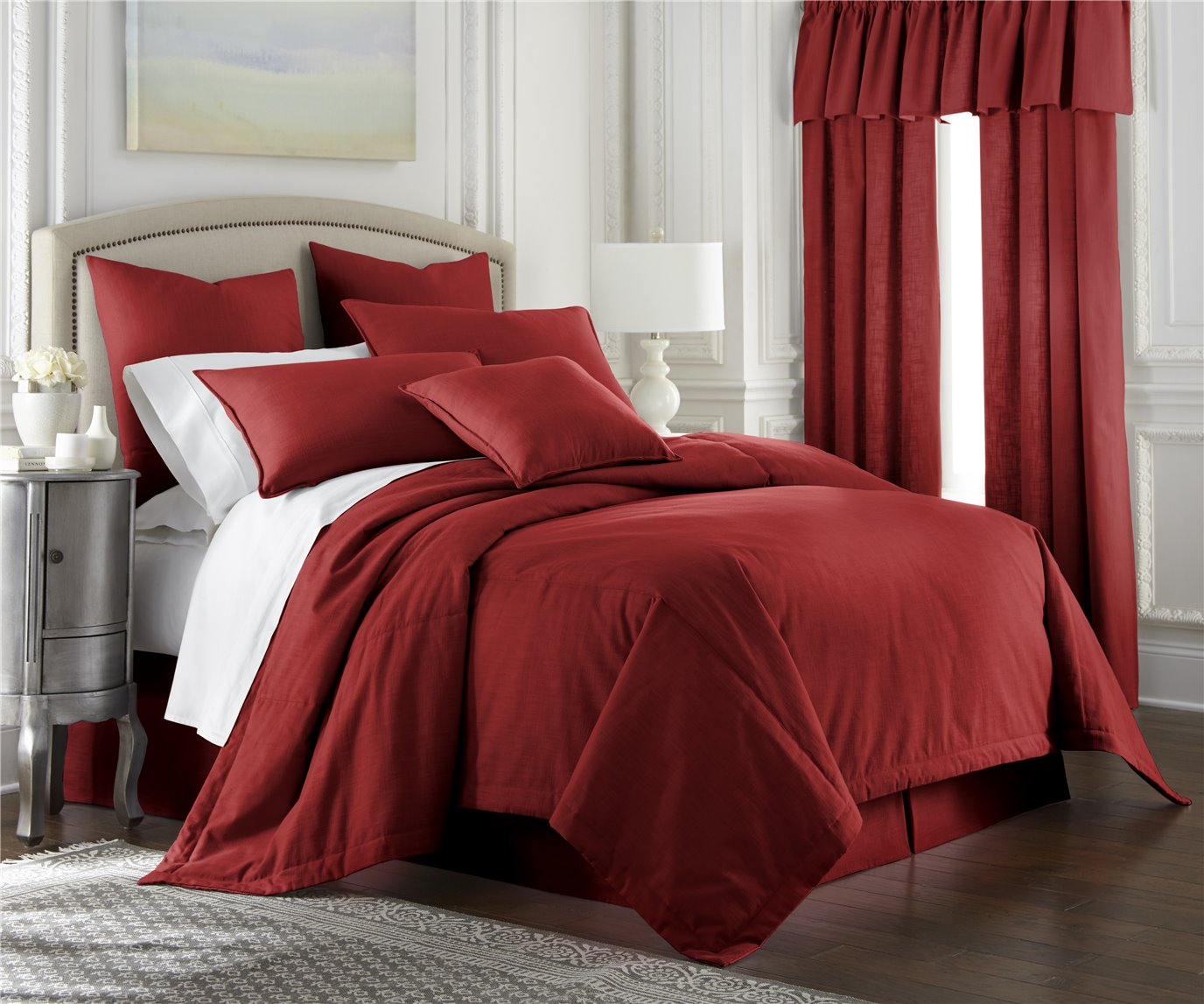 Cambric Red Coverlet Super King