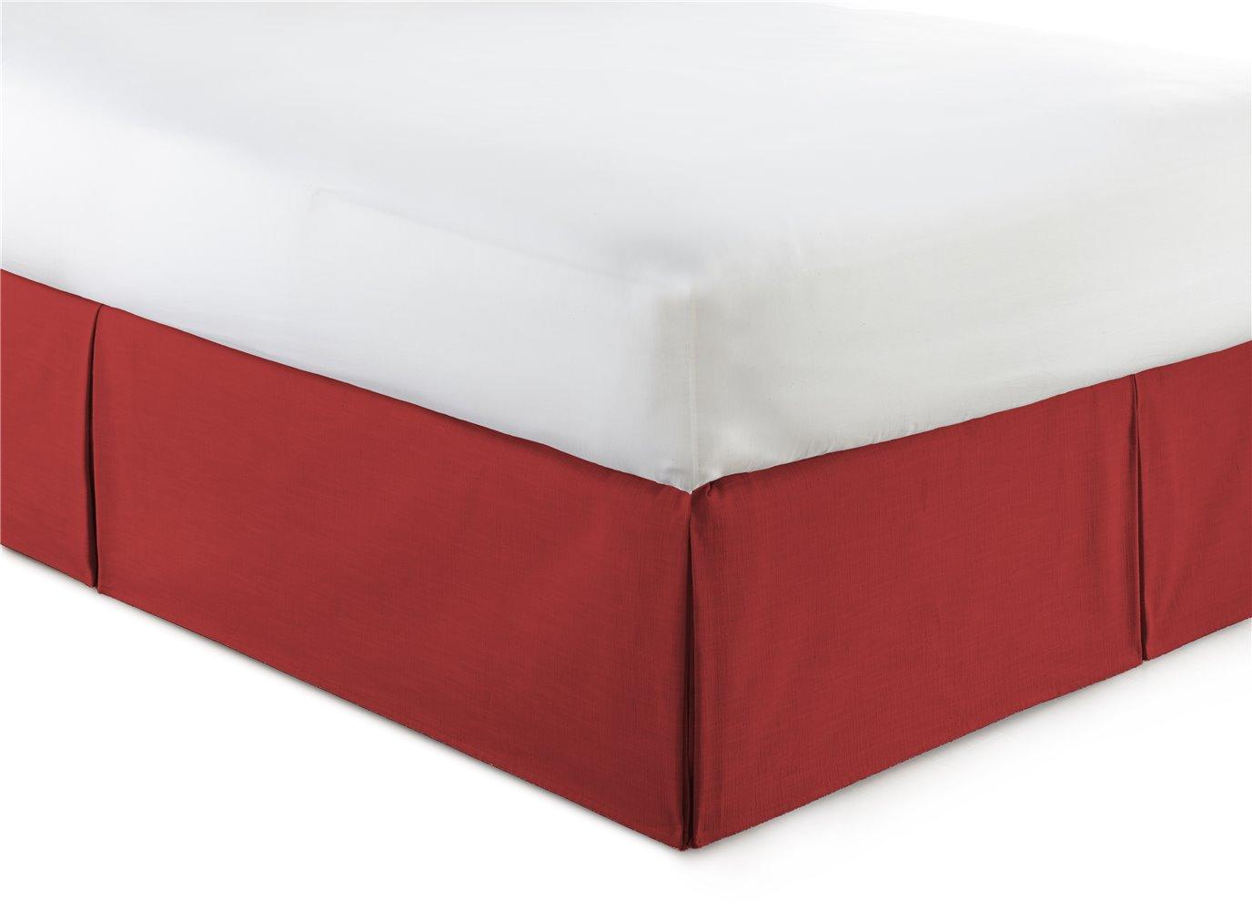 "Cambric Red Bedskirt 15"" Drop California King"