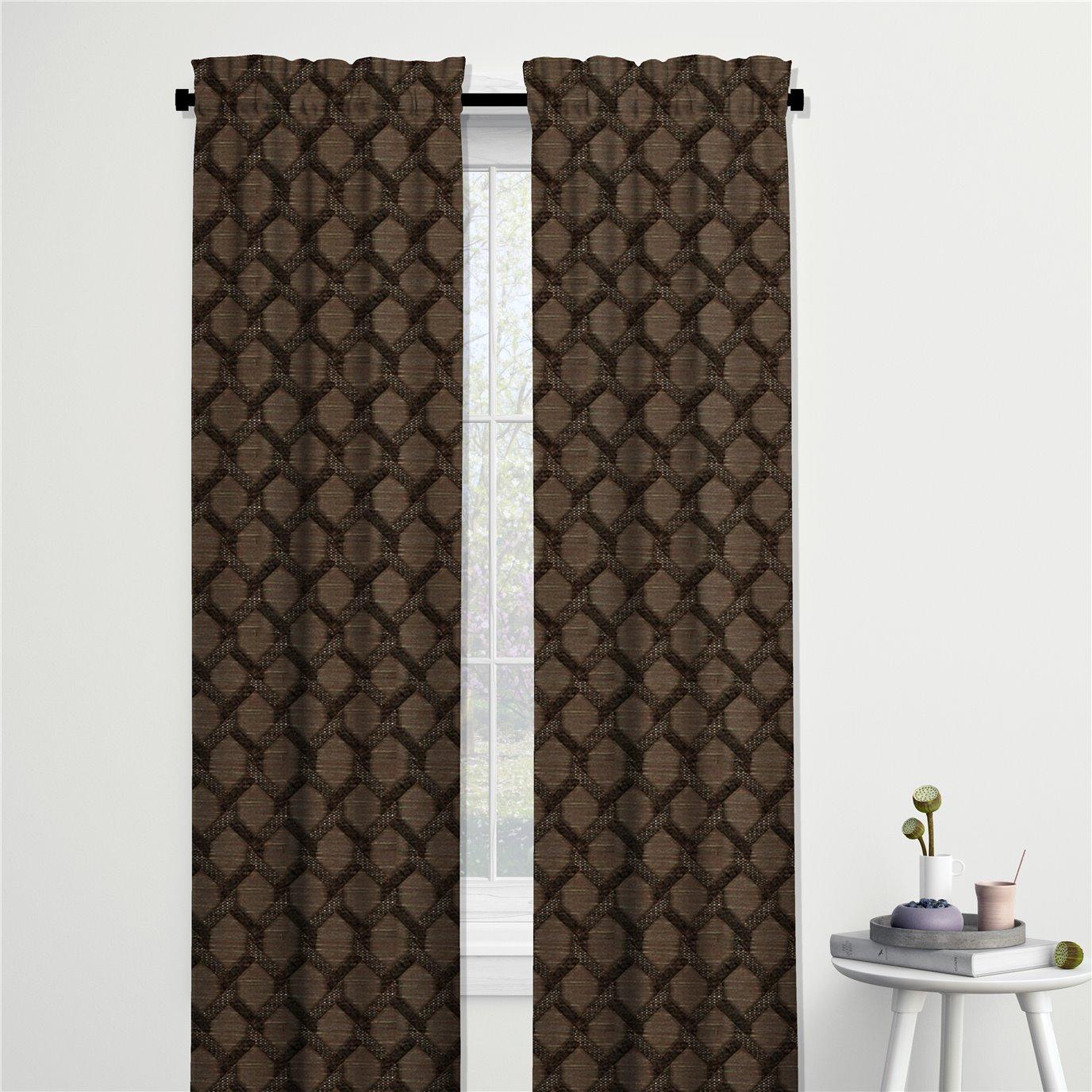 "Malden Chocolate Pinch Pleat Drapery Panel - 25""x96"""