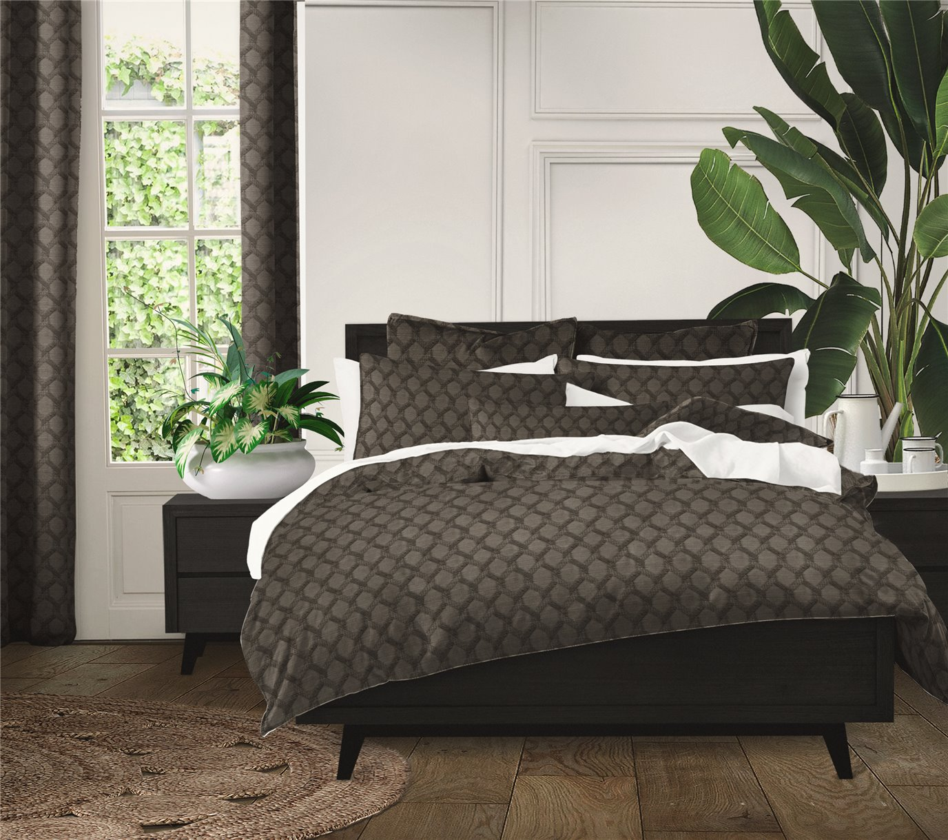 "Malden Charcoal Square Pillow 18""x18"""