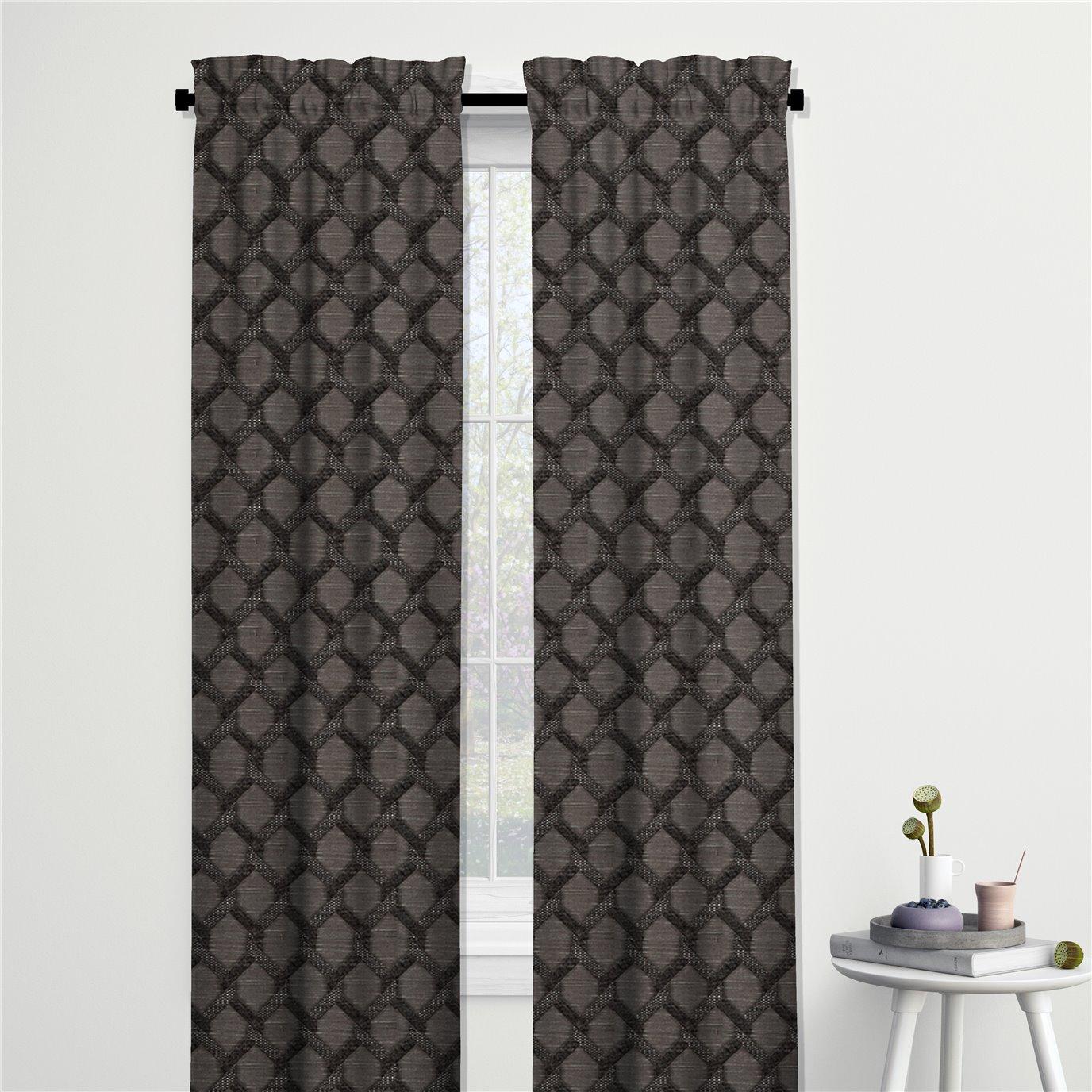"Malden Charcoal Pole Top Drapery Panel - 50""x96"""
