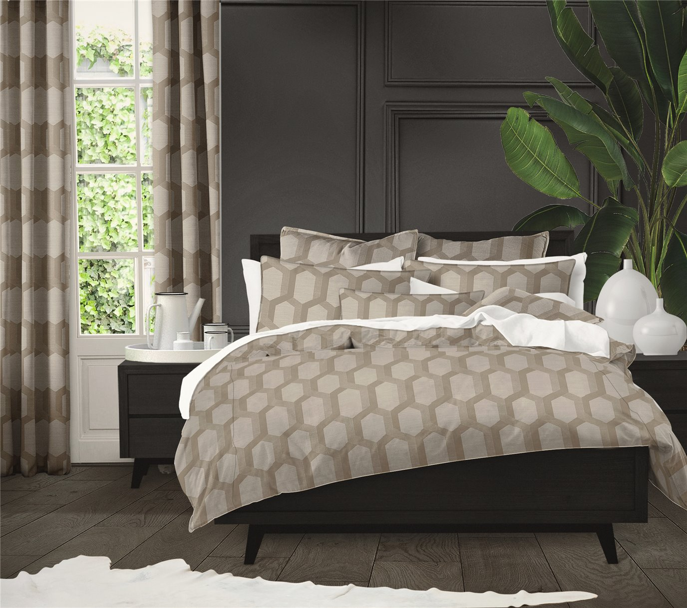 """Maidstone Taupe Bedskirt 15"""" Drop King"""