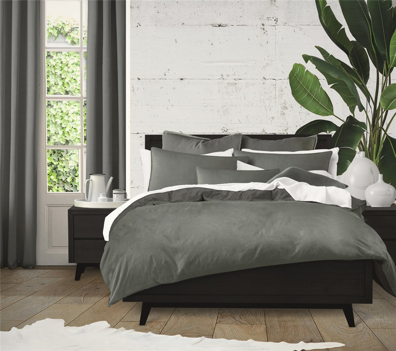 Harrow Charcoal Comforter Set - California King