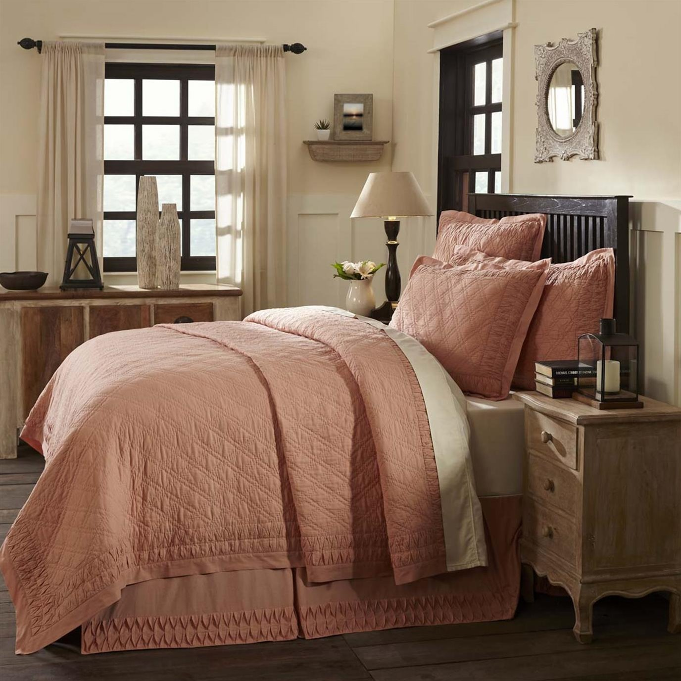 Adelia Apricot Twin Quilt 68Wx86L  -