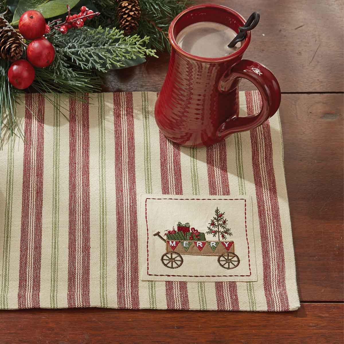 Merry Woven Striped Placemat  with Embroidered Patch