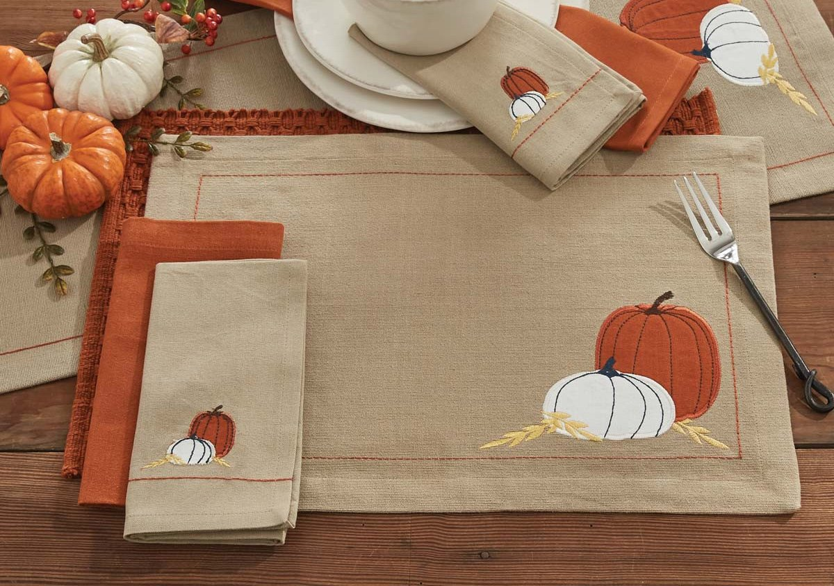 Pumpkins Embroidery Placemat
