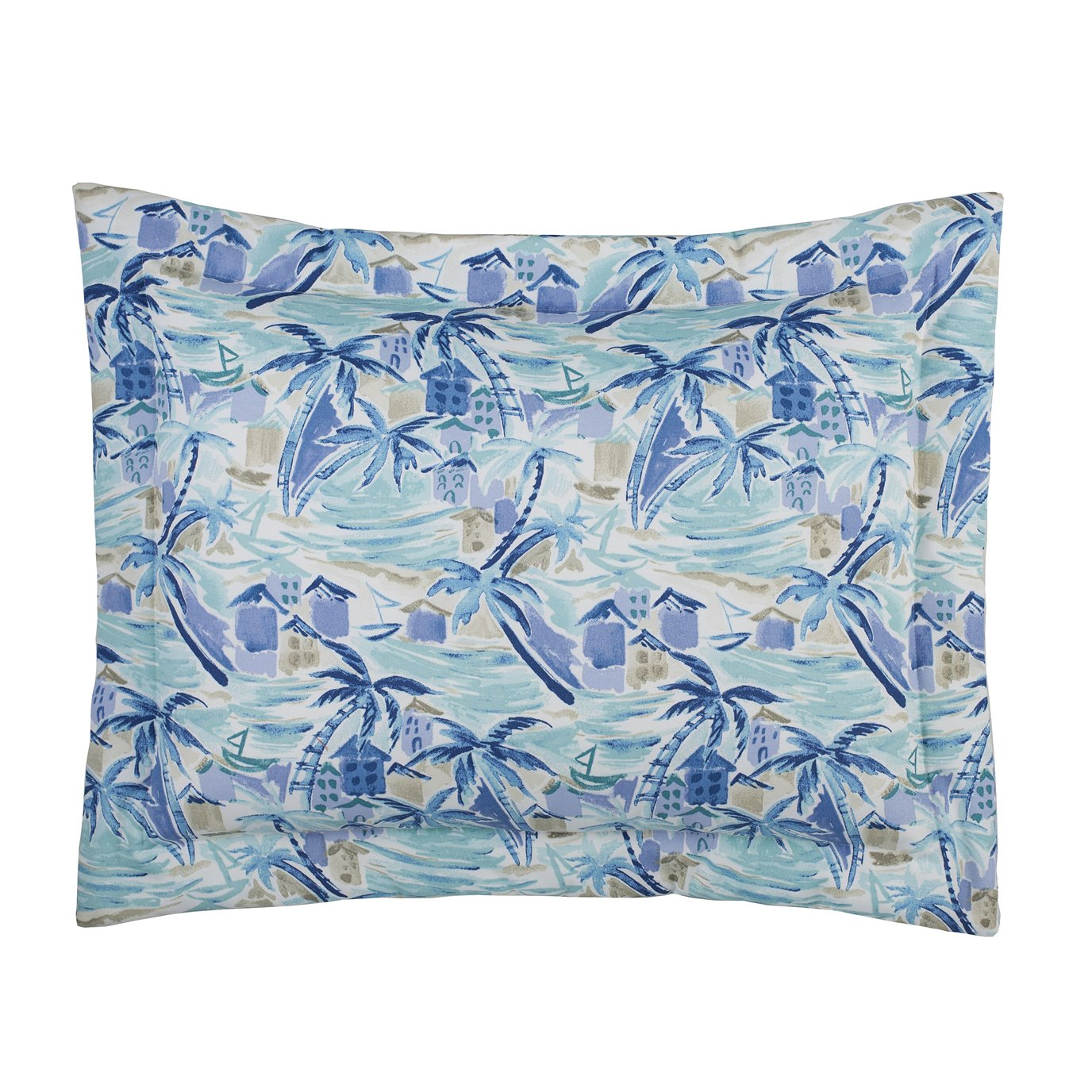 Tropical Paradise Blue Standard Pillow Sham