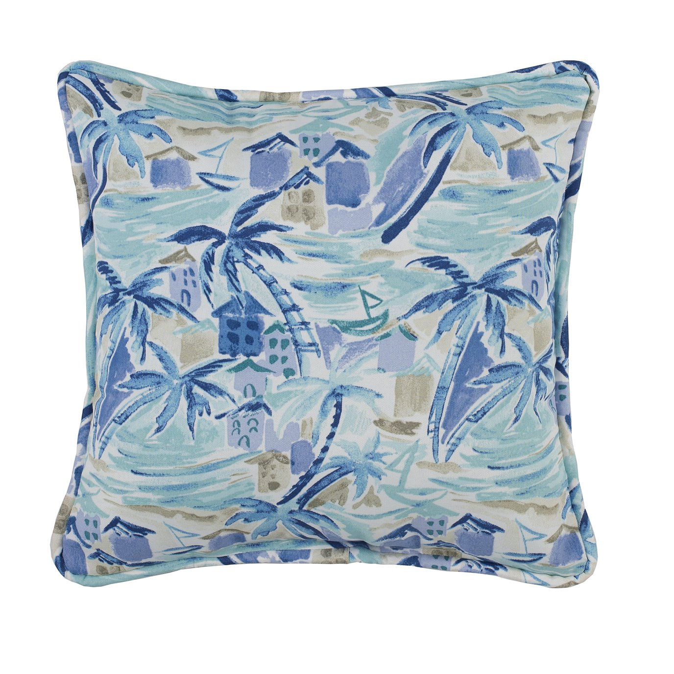 Tropical Paradise Blue Square Pillow - Main Print