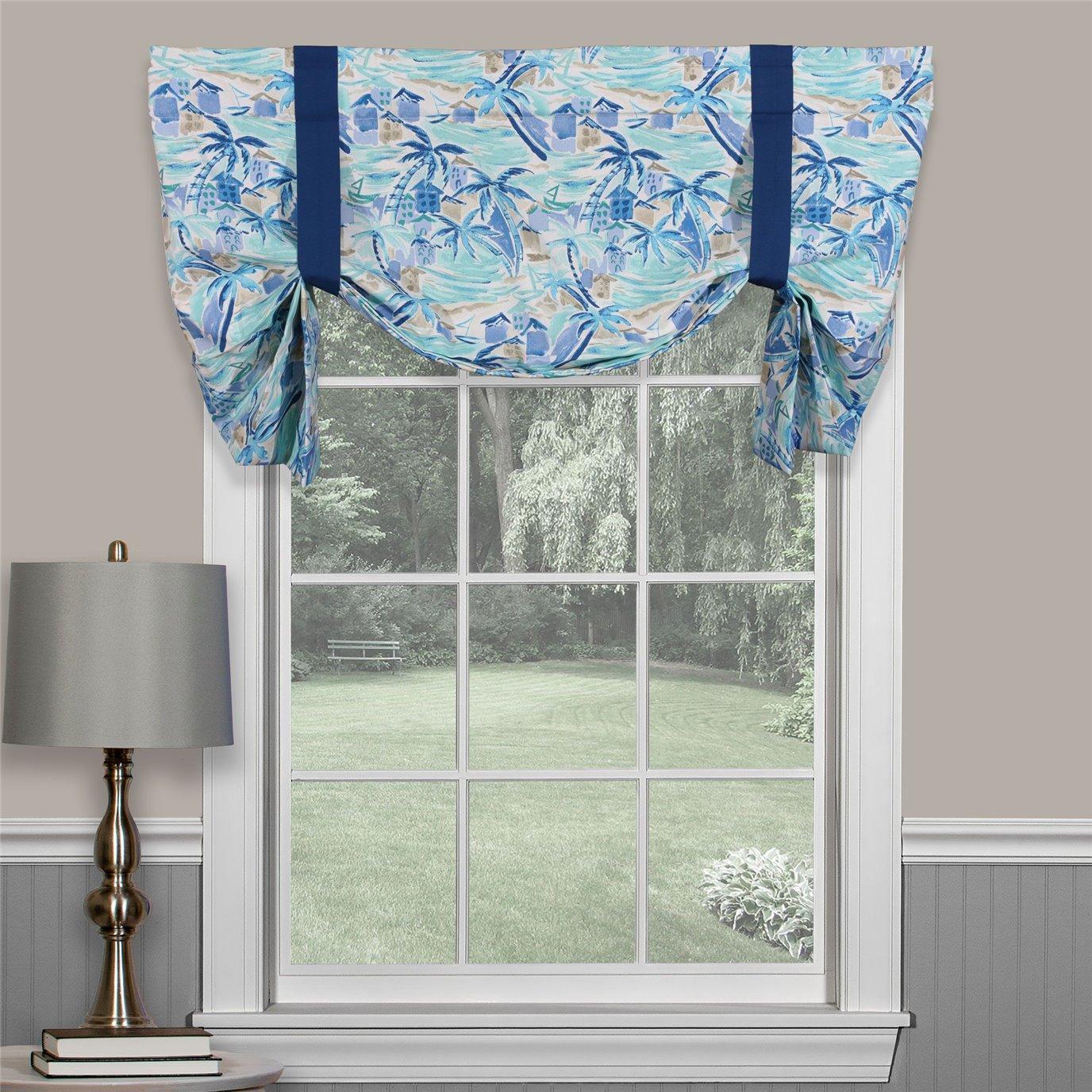 Tropical Paradise Blue Tie Up Curtain