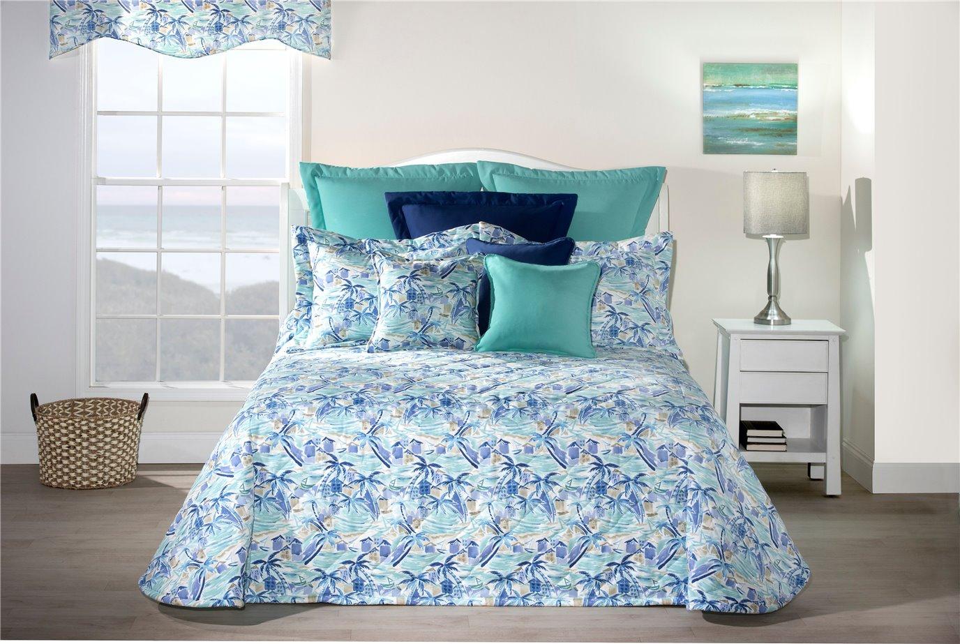 Tropical Paradise Blue Twin Bedspread