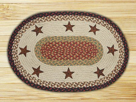 Barn Stars Oval Braided Rug 4'x6'