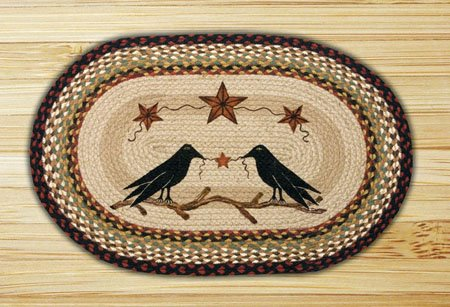 "Crow and Barn Stars Braided and Printed Oval Rug 20""x30"""